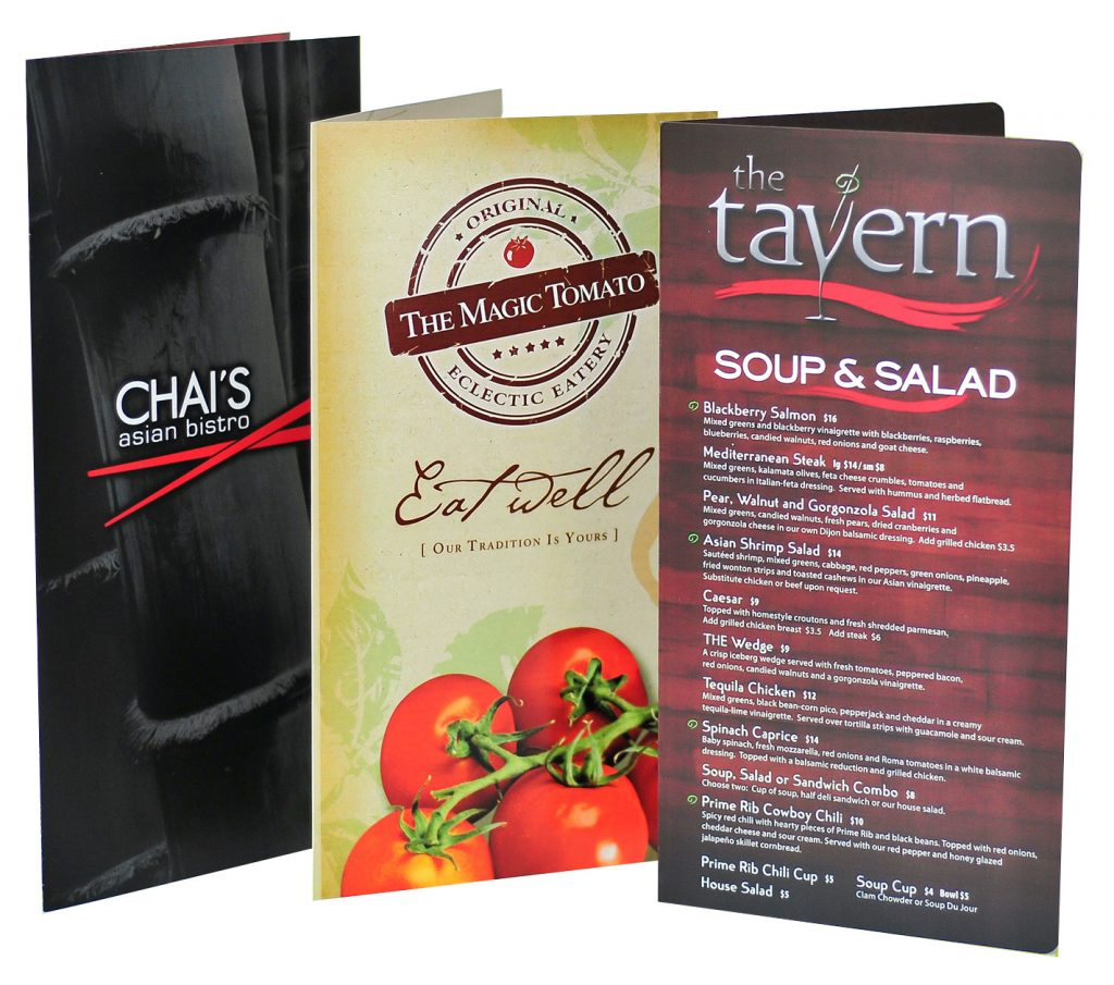 custom plastic menus